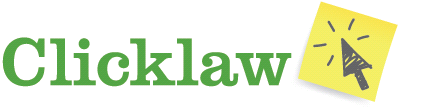 Clicklaw logo in green font